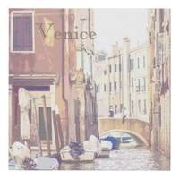 The Back Streets of Venice Travel Poster Style Faux Canvas Print