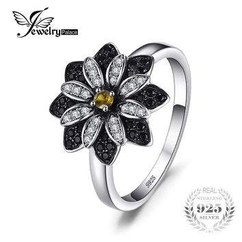 JewelryPalace Flower Natural Taupe Smoky Quartz Black Spinel Ring Charms 925 Sterling Silver Fashion Fine Jewelry For Women Ring