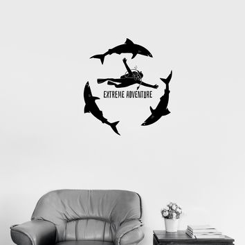 Wall Decal Diving Extreme Dive Sports Diver Sea Ocean Sharks Vinyl Sticker Unique Gift (ed792)