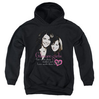 GILMORE GIRLS/TITLE-YOUTH PULL-OVER HOODIE - BLACK -
