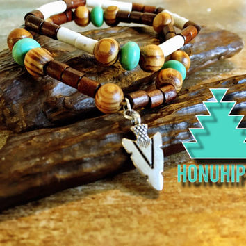 Boho hippie jewelry, arrow head beaded bracelet set