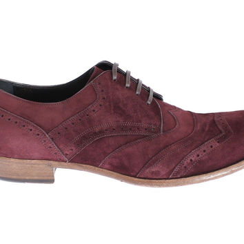 Dolce & Gabbana Bordeaux Leather Suede Wingtip Shoes