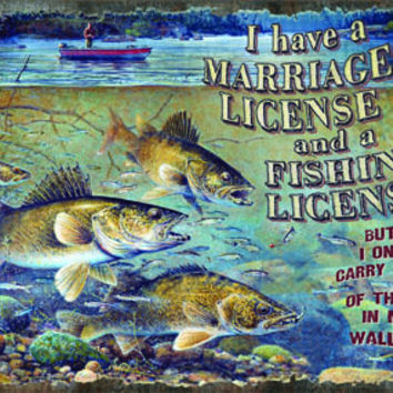 Tin Sign - Marriage and Fishing License