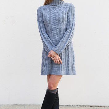 Holiday Cable Knit Sweater Dress {Gray}