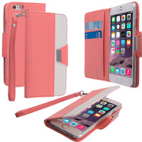 Light Pink Wallet Pouch Metal Flap Case Cover for Apple iPhone 6 Plus (5.5)