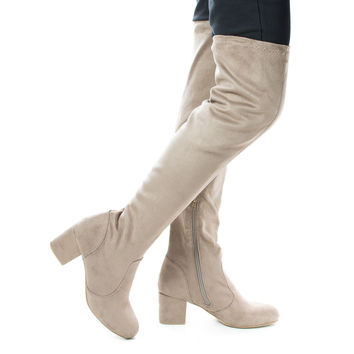 autumn04s Lt Taupe F-Suede by Bamboo, Light Taupe Suede Over The Knee OTK Pull On High Block Heel Boots