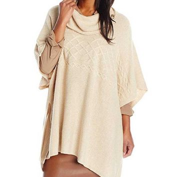 MDIGYW3 NYDJ Cable Cowl Neck Poncho Sweater