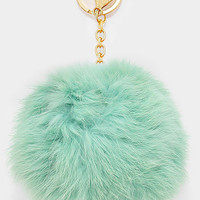 Large Rabbit Fur Pom Pom Keychain, Key Ring Bag Pendant Accessory - Mint