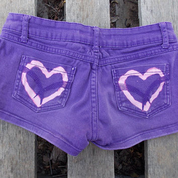 Adorable Pink and Purple Short Shorts with Heart Studs and Hearts on Back Pockets