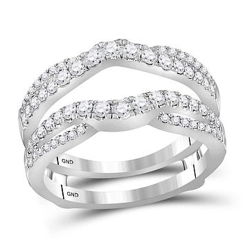 14kt White Gold Women's Round Diamond Ring Guard Wrap Ring Guard Enhancer 5/8 Cttw - FREE Shipping (US/CAN)