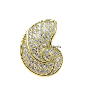 YELLOW GOLD PLATED 925 STERLING SILVER HAWAIIAN NAUTILUS SHELL PENDANT CZ 15MM