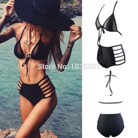Black Sexy mesh halter string strappy bikini high waist swimsuit 2016 swimwear women bathing suit bather maillot de bain V190