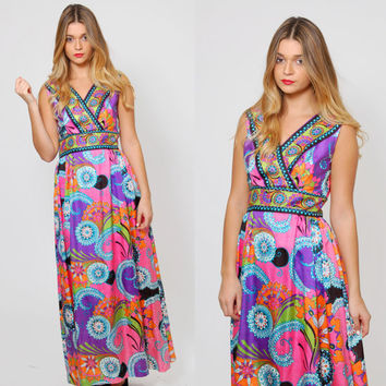 Vintage 60s PSYCHEDELIC Maxi Dress Bright FLORAL Mod Dress EMPIRE Waist Hippie Dress