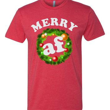 Merry AF funny Christmas Tshirt or Sweatshirt  Ugly Christmas Sweater Party New for 2017