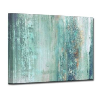 'Abstract Spa' Framed Graphic Art Print on Canvas in Aqua/Blue