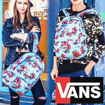 """Vans""Fashion Personality printing large capacity backpack bag leisure travel boom Blue peach(7 style)"
