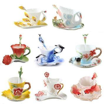 Colored Enamel Coffee Mugs Set Porcelain Tea Milk Cup Creative Swan Caneca Goldfish Copo Peacock Horse Drinkware