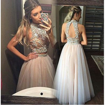 Champagne Two Piece Prom Dresses 2017 Luxury Beading Tulle Evening Gowns For Women Graduation Dress Robe De Bal Longue
