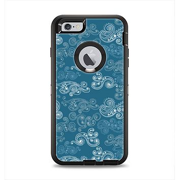 The Seamless Blue and White Paisley Swirl Apple iPhone 6 Plus Otterbox Defender Case Skin Set