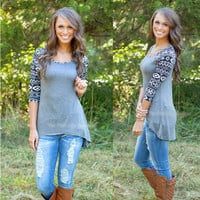Gray Bottoming Printed Long-Sleeve Slim T-Shirt