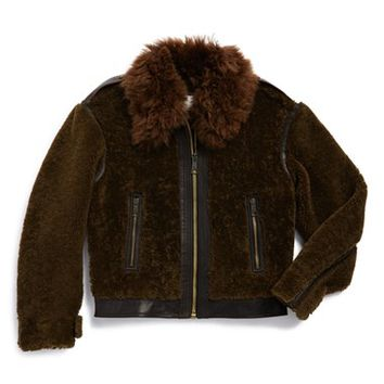 Girl's Burberry 'Mini Ramsleigh' Genuine Shearling Coat,