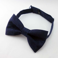 Mens bow tie - navy pre tied adjustable bowtie - cobalt blue cotton bow tie already tied