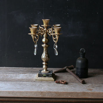 Vintage Candelabra Five Candles Halloween Decor Gold Color From Nowvintage on Etsy