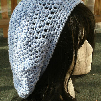 Crochet Hat: The Classic in Light Blue Cotton - 100 percent cotton slouchy hat -spring, summer, fall accessories
