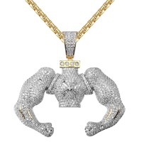 Men's Big Block Flexing Iced Out Custom Hiphop Pendant Chain