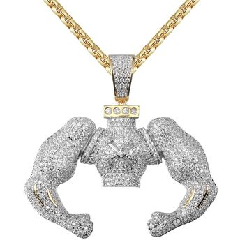 Men's Big Block Flexin Muscle Iced Out Custom Pendant Chain