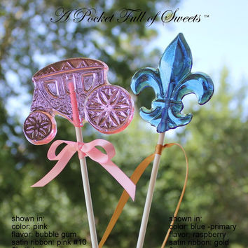 8 PRINCESS Birthday Party Carriage Favors Barley Sugar Hard Candy Lollipops Suckers Gifts