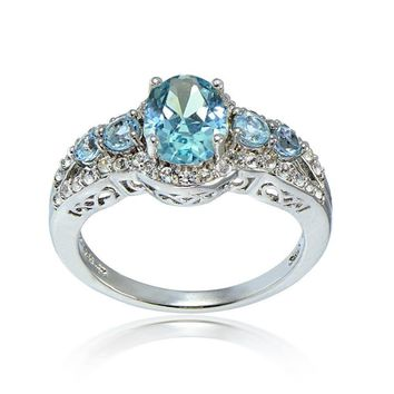Simulated Aquamarine and Cubic Zirconia Oval Halo Five Stone Ring