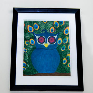 FREE SHIPPING  One of a Kind Owl Peacock Framed Drawing