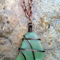 Seafoam Vintage Glass Necklace on Antique Copper Chain
