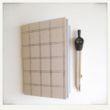 Minimalist Notebook with Grid Pattern, Pocket Journal, Gift for him, Geometric Jotter Gray and White,
