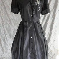 "ON SALE 40s 50s Dress // vintage 40s 50s Dark Gray Taffeta Dress with Beading and Rhinestone Buttons Size M 28"" waist watermark"