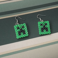 Minecraft Creeper Perler Bead Earrings