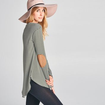 Pinstripe Elbow Patched Tunic