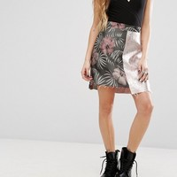 Reclaimed Vintage Inspired Mini Skirt In Metallic Mixed Floral Jacquard at asos.com