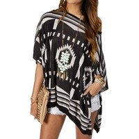 Sale-BlackWhite Oversize Tribal Print Sweater