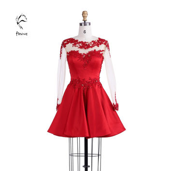 Finove Cocktail Dresses Fashion 2017 Short  Red Homecoming Dress with A-line Long Sleeves Appliques Beaded Satin Tulle for Girls
