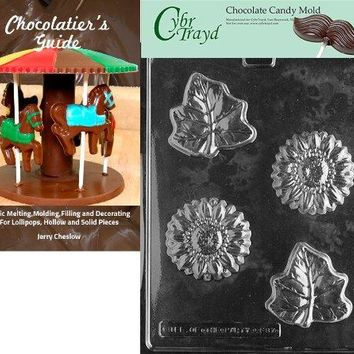 """Cybrtrayd """"Flower/Leaf"""" Fruits and Vegetables Chocolate Candy Mold with Chocolatier's Guide"""