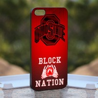 Ohio State Footbal Block, Print on Hard Cover iPhone 4/4S Black Case