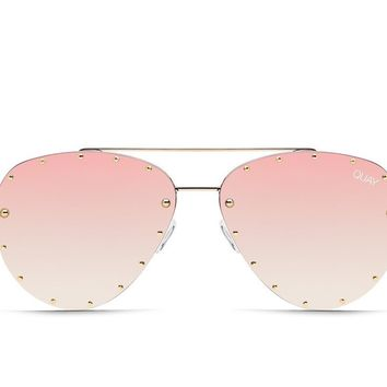 Quay Jaclyn Hill #QUAYXJACLYN Roxanne Gold Sunglasses / Rose Lenses