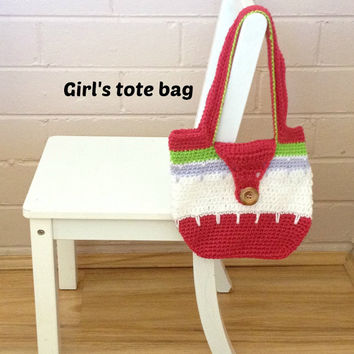 tote, crochet tote, handbag, knitted purse, girl's tote, carry tote bag, crochet bag, kids purse, children's bag, photography prop, pouch