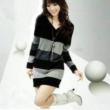 black --grey stripe Sweater V collar with long sleeve dress wool women dress Autumn Winter--SW026