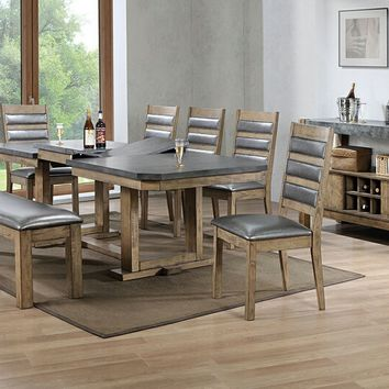 8 pc Barrister II collection rustic distressed natural wood finish dining table set with bench