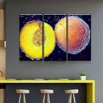 Peach Kitchen and Dining Room Wall Decor Canvas Set