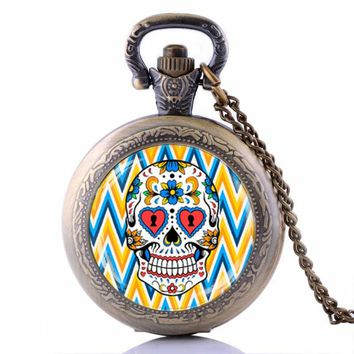 Steampunk Sugar Skull Pocket Watch Necklace Mexican Skull Pendant Day of The Dead Clock