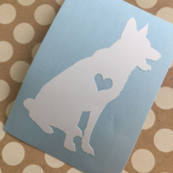 German Shepherd Heart Decal | German Shepherd Mom Decal | Dog Mom Decal | Dog Dad Decal | Dog Family Decal | Love Sticker | Love Decal  |236
